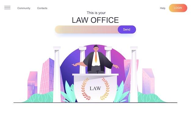 Concept web de cabinet d'avocats pour la page de destination