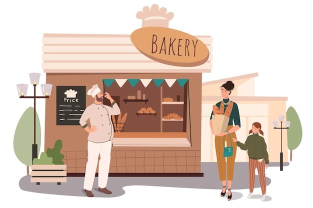 Concept web de construction de boulangerie. mère et fille achetant du pain frais et des pâtisseries au magasin. baker vend ses produits