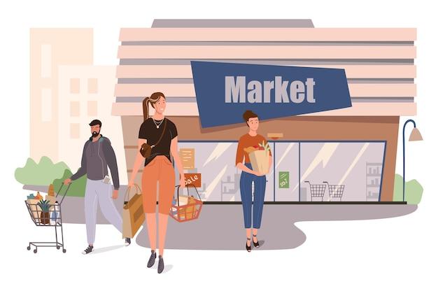 Concept web de construction de boutique de marché. les clients font leurs courses au supermarché, achètent de la nourriture, mettent leurs achats dans des chariots et des paniers au magasin
