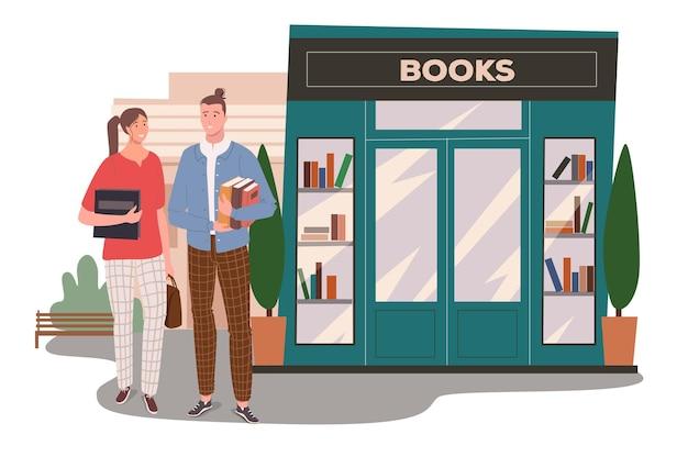 Concept web de construction de librairie. un couple achète des livres à la librairie. étudiants tenant des manuels et debout à l'entrée du magasin