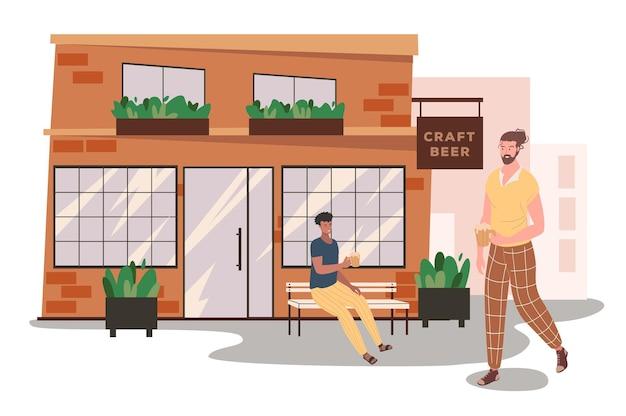 Concept web de construction de magasin de bière artisanale. les hommes boivent de la bière dans la rue près du magasin. les clients dégustent des boissons alcoolisées, se détendent au pub