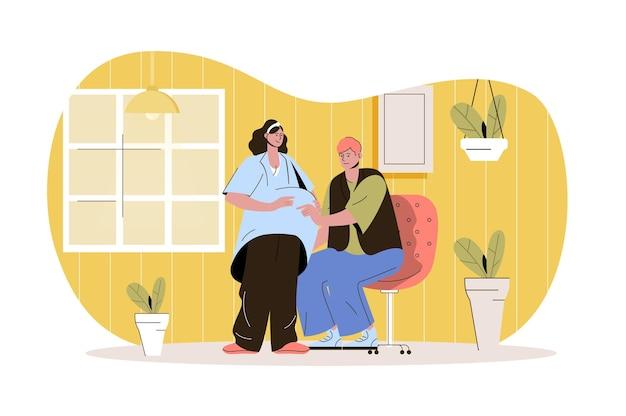 Concept web de grossesse le mari touche le ventre de la femme enceinte jeune maman et papa ensemble