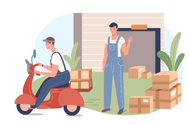 Concept web de service de livraison. homme chargeant et transportant des colis, travaillant dans un entrepôt. le courrier livre des boîtes de commandes au client
