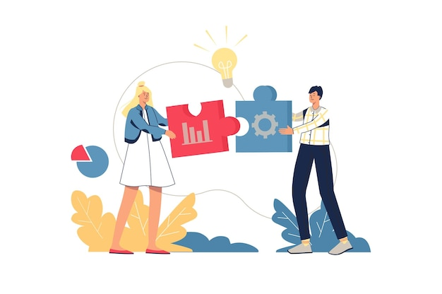 Concept web de solution d'entreprise. les employés réfléchissent, travaillent ensemble sur une tâche, créent des idées, innovent sur un projet. scène de travail d'équipe minimale. illustration vectorielle au design plat pour site web