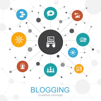 Concept web tendance de blogs avec des icônes. contient des icônes telles que les médias sociaux, les commentaires, le blogueur, le contenu numérique