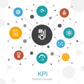 Concept web tendance kpi avec des icônes. contient des icônes telles que optimisation, objectif, mesure, indicateur