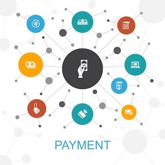 Concept web tendance de paiement avec des icônes. contient des icônes telles que facture, argent, facture, remise
