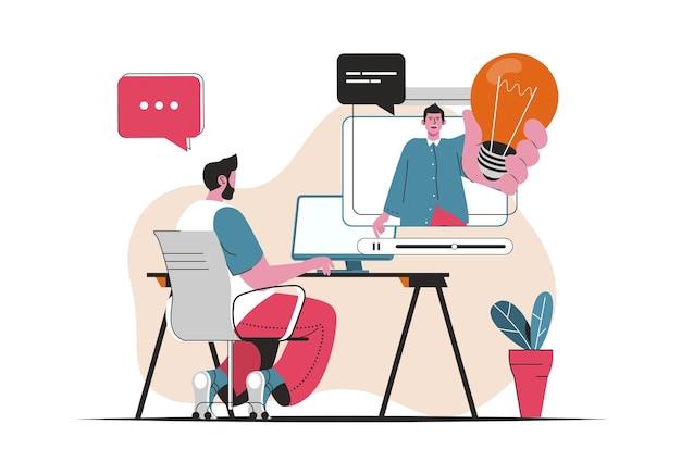 Concept de webinaire d'affaires isolé. développement professionnel, coaching et formation. scène de personnes en dessin animé plat. illustration vectorielle pour les blogs, site web, application mobile, matériel promotionnel.