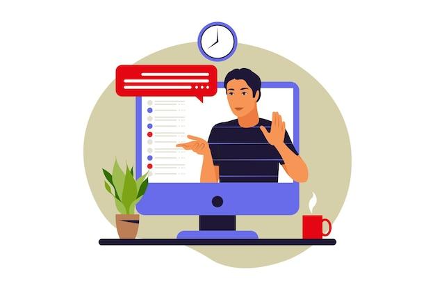 Concept de webinaire. éducation en ligne. vidéoconférence ou conférence. illustration vectorielle. appartement