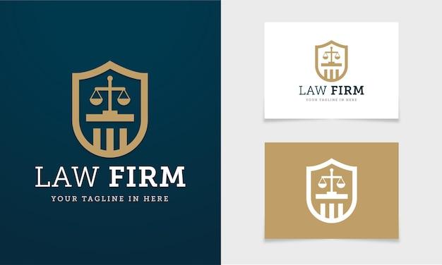 Concept weblogo avec bouclier et balance de la justice pour cabinet d'avocats