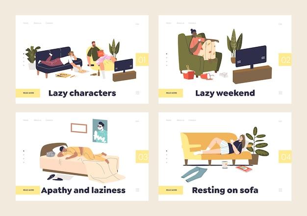 Concept de week-end paresseux d'ensemble de pages de destination
