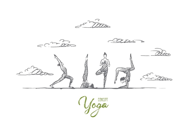 Concept de yoga. cours d'exercices de yoga dessinés à la main. personnes pratiquant le yoga à l'extérieur illustration isolée.