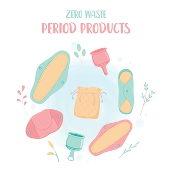 Concept zéro déchet. produit écologique de la période menstruelle de la femme. tampons en tissu réutilisables, coupe menstruelle.