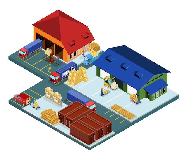Concept de zone d'entrepôt isométrique