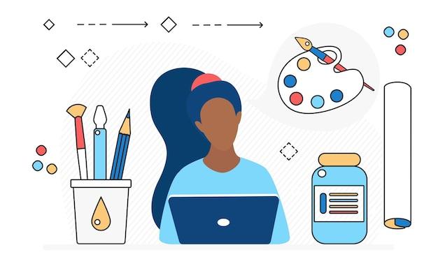 Concepteur d'agence de studio d'art d'outils de processus de travail d'artiste professionnel avec des objets à dessiner