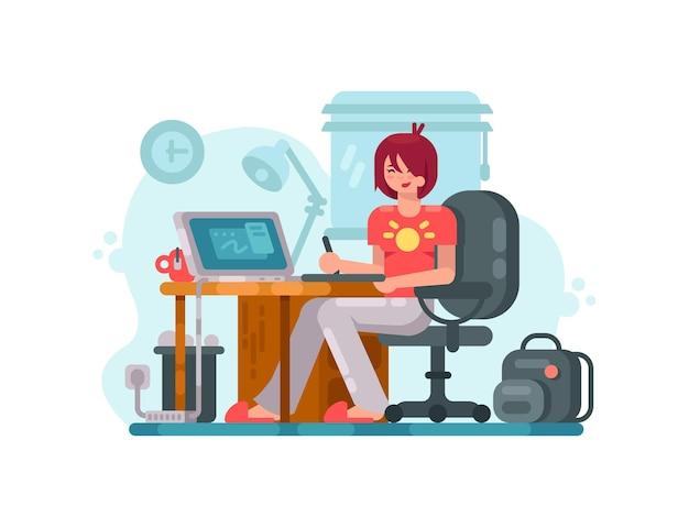 Concepteur du lieu de travail. fille dessine en utilisant une tablette graphique. illustration vectorielle