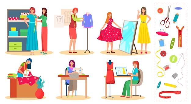 Concepteur sur mesure personnes travaillent ensemble d'illustration
