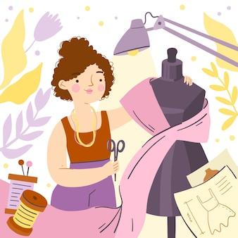 Concepteur de mode faisant des vêtements
