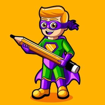 Le concepteur de super-héros apporte le personnage de mascotte de crayon