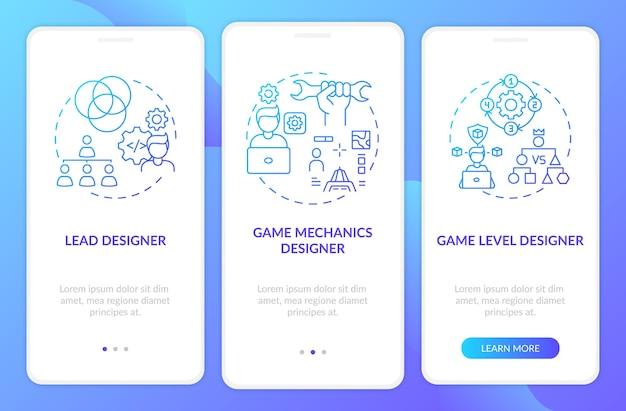 Les concepteurs de jeux types l'écran de la page de l'application mobile d'intégration avec des concepts. créateur de niveau de jeu sur la procédure pas à pas du projet en 3 étapes. modèle d'interface utilisateur avec illustrations en couleurs rvb