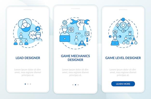 Les concepteurs de jeux types écran de page d'application mobile d'intégration avec des concepts