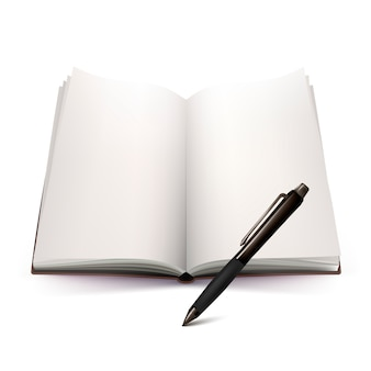 Conception 3d de cahier et stylo ouvert