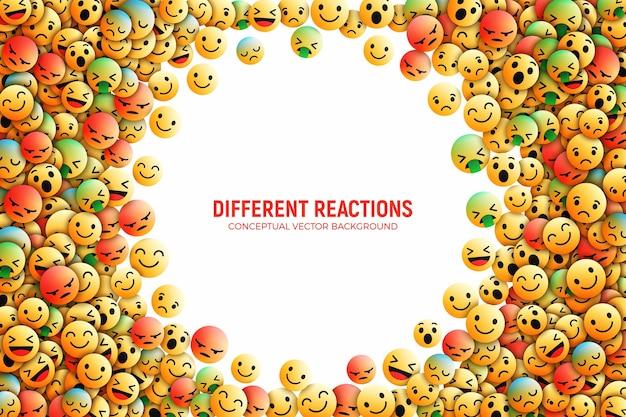 Conception 3d icônes facebook emoji avec différentes réactions illustration d'art conceptuel de réseau social