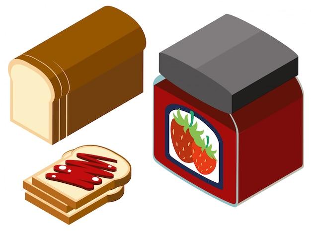 Conception 3d pour confiture de fraises et pain