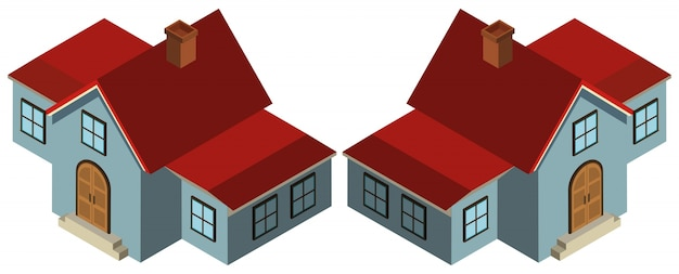 Conception 3d pour maison en bleu