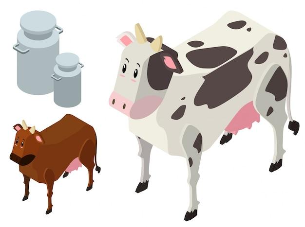 Conception 3d pour vaches et réservoirs de lait