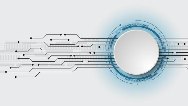 Conception 3d de vecteur de cercle de papier avec circuit électrique. réseau numérique de haute technologie, communications, haute technologie. abstrait, futuriste, ingénierie, science, technologie. eps 10.