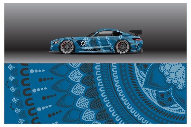 Conception abstraite d'autocollants d'enveloppe de voiture de course et arrière-plan sportif pour une utilisation quotidienne en livrée ou autocollants