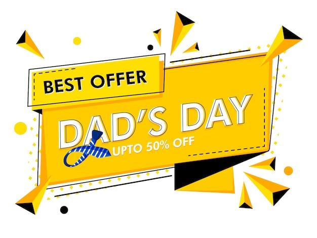 Conception abstraite de bannière de vente de meilleure offre pour célébrer la fête des pères