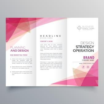 Conception abstraite de brochure commerciale à trois feux roses