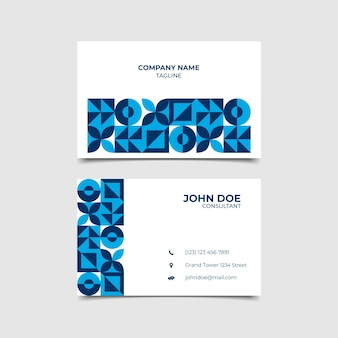 Conception abstraite de carte de visite bleu classique
