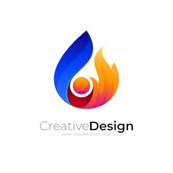 Conception abstraite du feu, logos colorés 3d