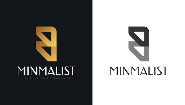 Conception abstraite et élégante de logo de lettre b dans le symbole d'alphabet graphique de gradient d'or pour l'entreprise