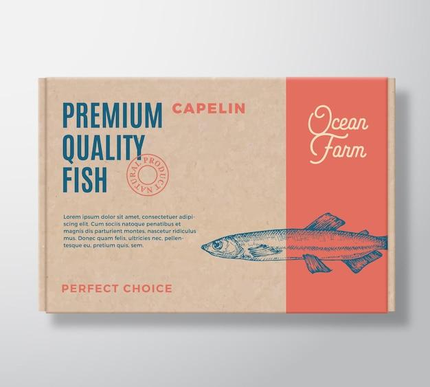 Conception abstraite d'emballage de boîte en carton réaliste de poisson de qualité supérieure.