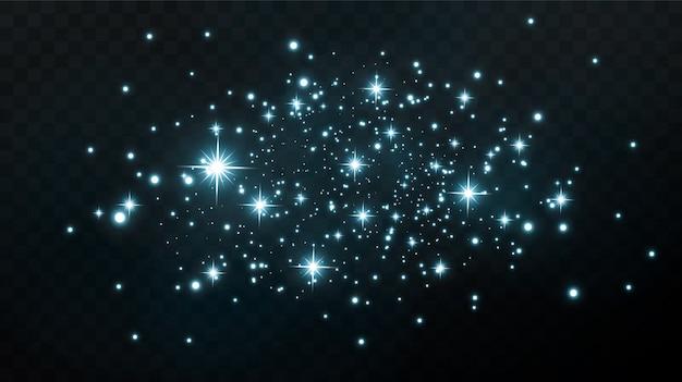 Conception abstraite festive. le scintillement de petites lumières isolées dans le ciel nocturne ou dans l'espace.