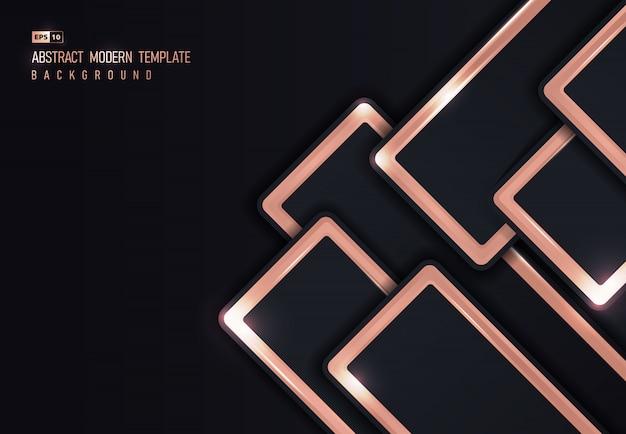 Conception abstraite de fond de conception de chevauchement métallique brillant or rose.