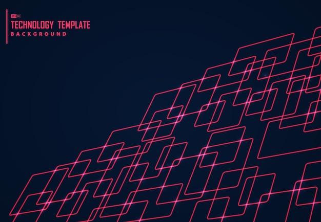 Conception abstraite de fond de conception de technologie carré rouge.