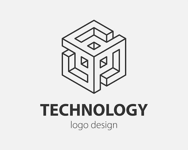 Conception abstraite de logo de bloc style linéaire de modèle de vecteur de communication de technologie.