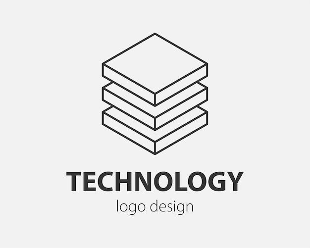 Conception abstraite de logo de bloc technologie