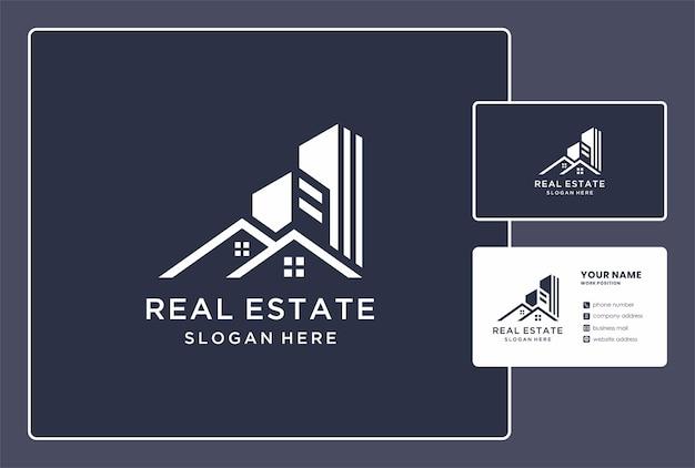 Conception abstraite de logo immobilier et de carte de visite.
