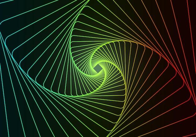 Conception abstraite de tunnel avec des lignes de trait au néon et une grille de tunnel 3d de flux