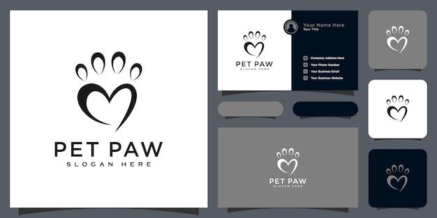 Conception abstraite de vecteur de logo de patte d'animal familier et carte de visite