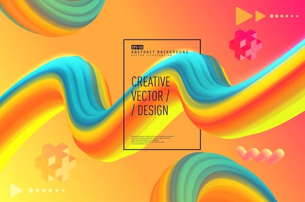 Conception d'affiche 3d abstrait liquide