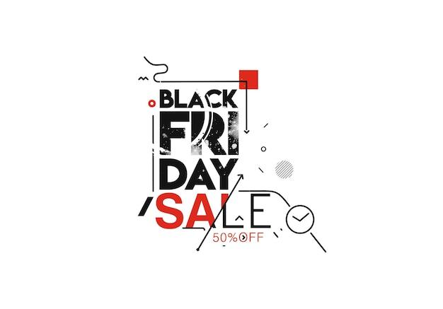 Conception d'affiche ou de bannière de promotion de vente du vendredi noir, offre spéciale de cinquante pour cent de réduction, modèle vectoriel de promotion et d'achat.