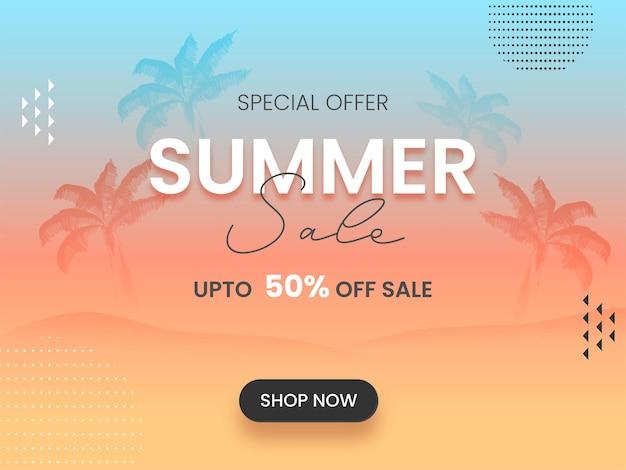Conception d'affiche ou de bannière de vente d'été avec une offre de réduction de 50 % sur fond bleu et pêche.
