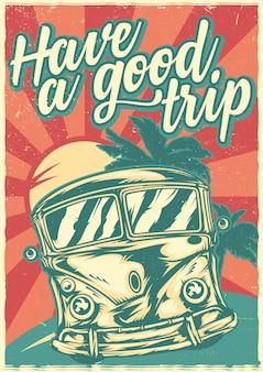 Conception d & # 39; affiche avec bus de surf hippie